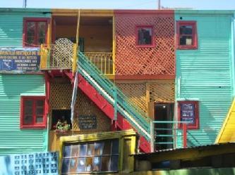 La Bocas Caminito mit den Bunden Blech Hausern, La Boca, die Tango Ecke Buenos Aires  Stadtrundfahrt Buenos Aires